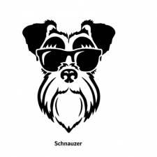 047-Honden kop met een zonnebril sticker